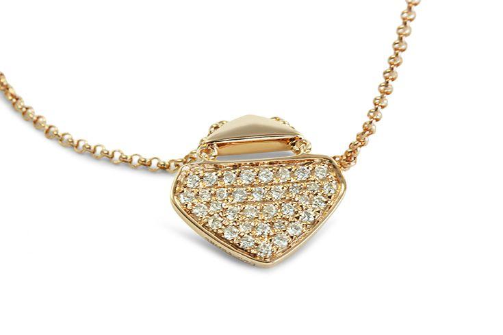 18 ct rose gold pavé set white diamond necklace
