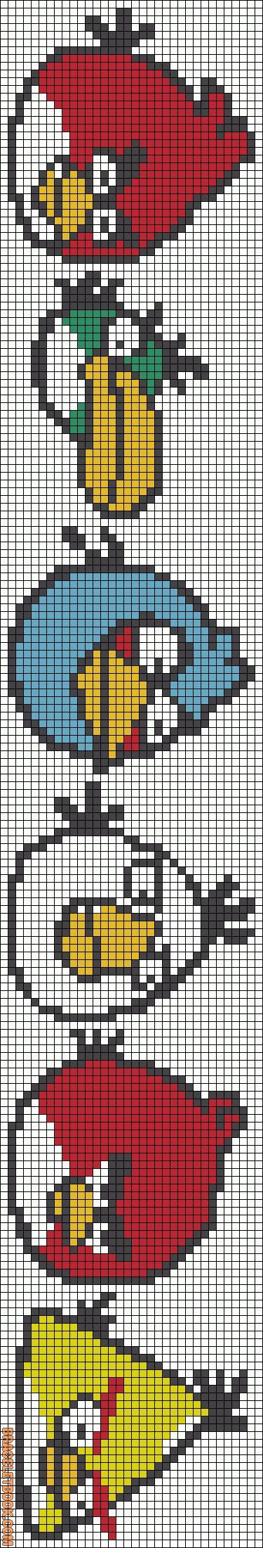 "Alpha Friendship Bracelet Pattern #10673 - BraceletBook.com [   ""Cross-stitch Angry Birds Bookmark... no color chart available, just use the pattern chart as your color guide.. or choose your own colors... Rotated Alpha Pattern added by"",   ""perler bead patterns"",   ""I thought that these were super clever!"" ] #<br/> # #Friendship #Bracelet #Patterns,<br/> # #Friendship #Bracelets,<br/> # #Alpha #Patterns,<br/> # #Bead #Patterns,<br/> # #Color #Charts,<br/> # #Perler #Mites,<br/> # #Hama…"