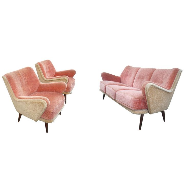 vintage pale pink and beige set of one couch and 2 arm #chairs #sofa #pink #vintage (via @1stdibs)