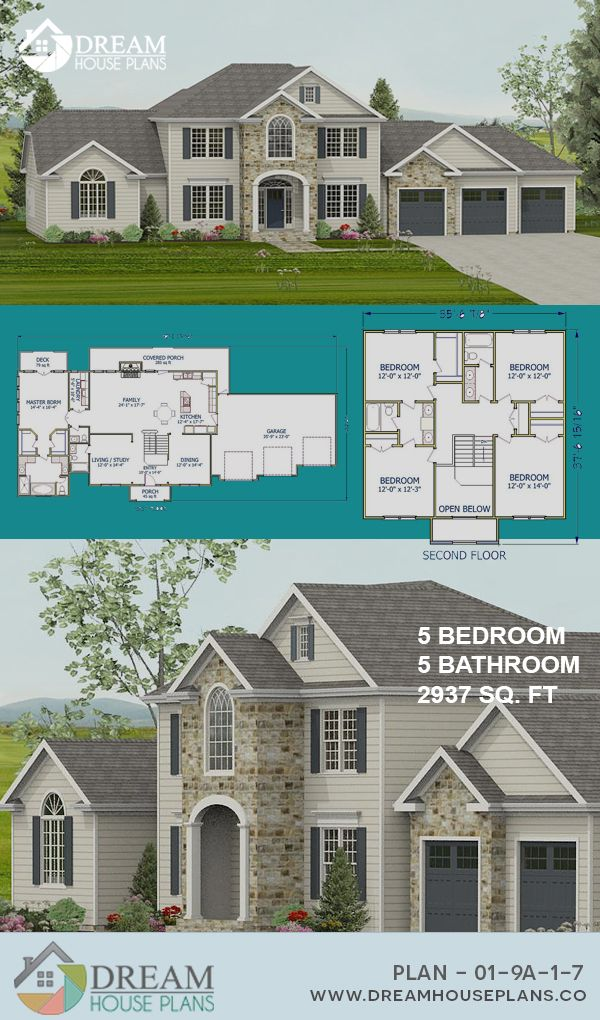 Dream House Plans Best Traditional 5 Bedroom 2937 Sq Ft Home Plan With Wrap Around Porch Open Floor Pl Dream House Plans Southern House Plans House Plans