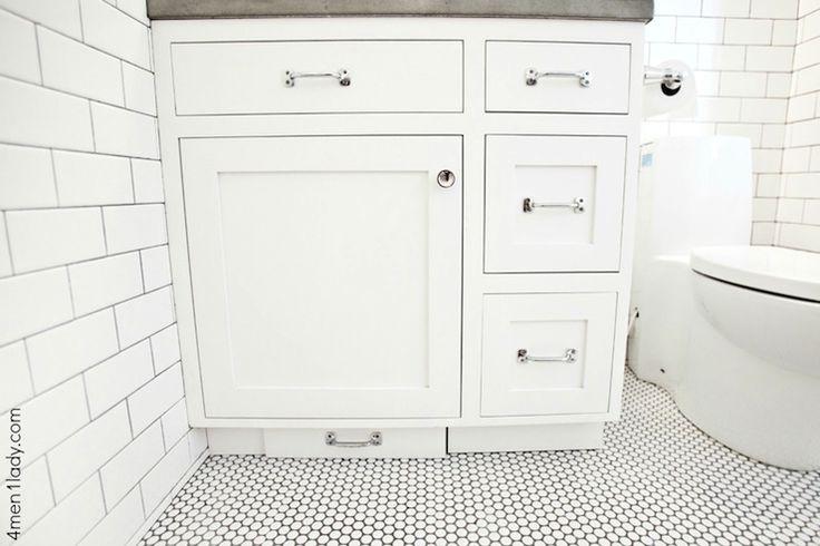 4 Men 1 Lady - bathrooms - Merola Tile Penny Round 12 in. x 12-1/4 in. White Porcelain Mesh-Mounted Mosaic Tile, Restoration Hardware Aubrey...