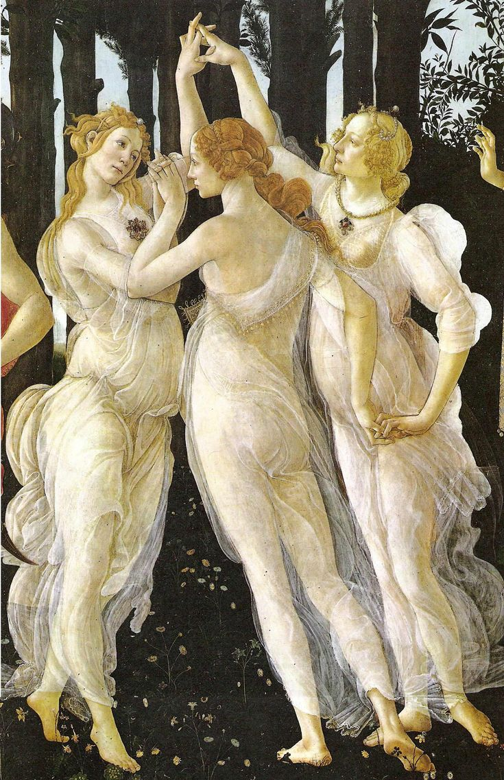 """Sandro Boticelli - """"The Three Graces"""", one of the finest Renaissance painters, sculptors, and one who was influenced by Fra Savanarola, one wonders how many of the Boticelli masterpieces went into the Bonfire of the Vanities.  I have seen this painting in the Uffizi Gallery, Florence."""