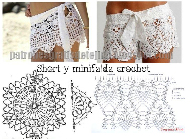 Patrones de Short y Minifalda al Crochet | Crochet y dos agujas