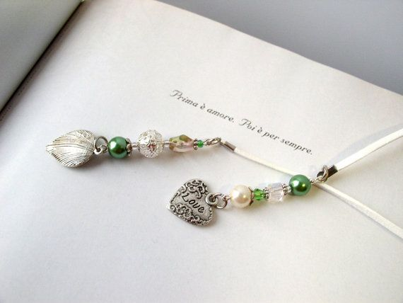 WEDDING GUEST FAVOR  Book Thong -  Handmade Beaded Bookmark for photo guest sign in book to mark a page - Elegant Beaded bookmark