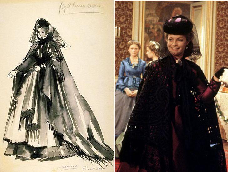 """Boceto de uno de los diseños de Piero Tosi en """"Ludwig"""" (1972). A la derecha, la actriz Romy Schneider en un fotograma de la película, dirigida por Luchino Visconti."""