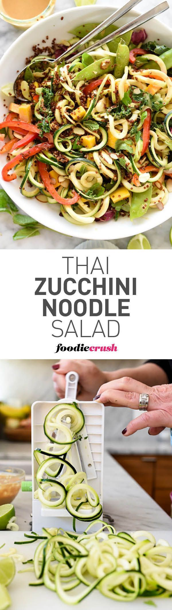 I'm obsessed with spiralized noodles. Zucchini is the base of this raw vegetable salad with a flavorful Thai peanut dressing that everyone loves | http://foodiecrush.com #healthy #salad #zoodles