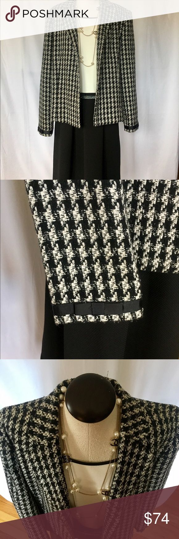 Houndstooth Jacket Classic Houndstooth Jacket with Black Ribbon Bow Cuffs. A MUST For ALL Wardrobes!! Jackets & Coats Blazers