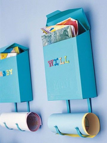 Personalize and hang wall-mounted mailboxes outside the kids' bedroom doors.