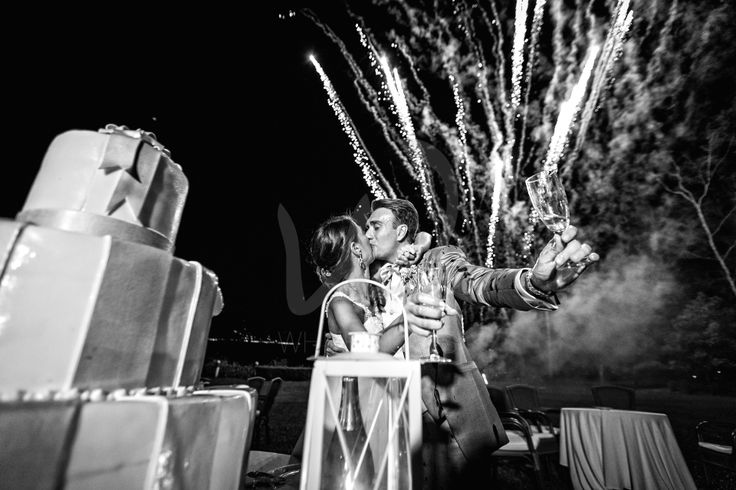 Wedding fireworks for Chiara and Marco at VillaRocchetta on #lakemaggiore (black and white)