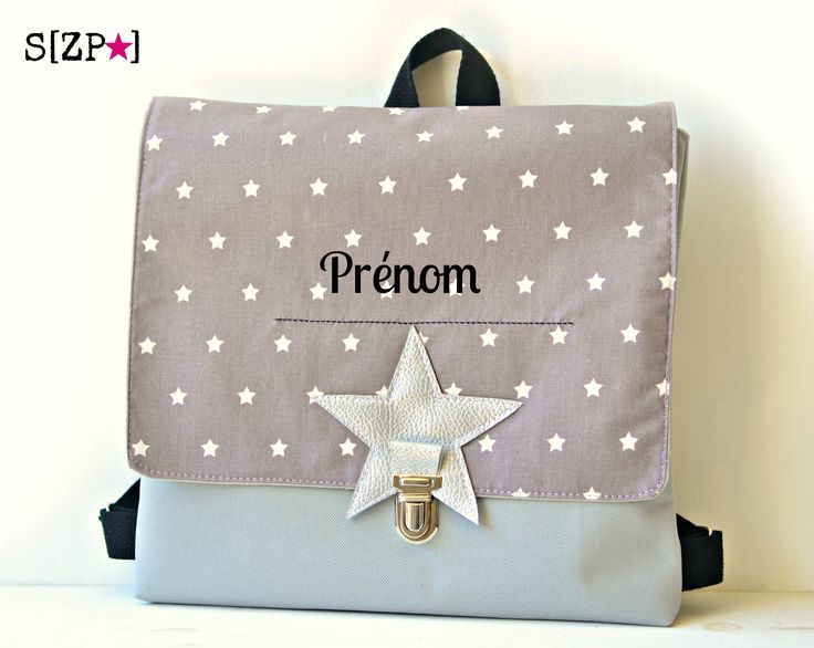 Sac enfant pour la maternelle, en toile imperméable et lin enduit figue, étoiles argent http://shirleyzepap.com/28-sacs-et-etuis-