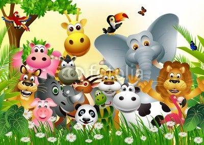 Fototapeta śmieszne kreskówki duży zestaw zwierząt z tropikalnych lasów tle