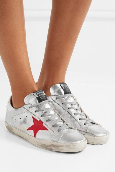 Rubber sole measures approximately 10mm/ 0.5 inches Silver, red and white leather Lace-up front Made in Italy