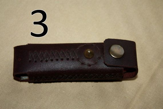 Knife casing made to attach to a belt. Everyone of them is unique cause to a handmade pattern that never occurs more then once! Made of natural leather and sewn by hand. They are durable and have a great look!  Steel knife with wooden hand is included to every casing. Folding Knife looks like the one on the first photo. Remember to choose the one that suits you. Numbers of Style are representing numbers on photos.  - 1 - Black color, diamonds pattern  - 2 - Black color, diamond pattern with…