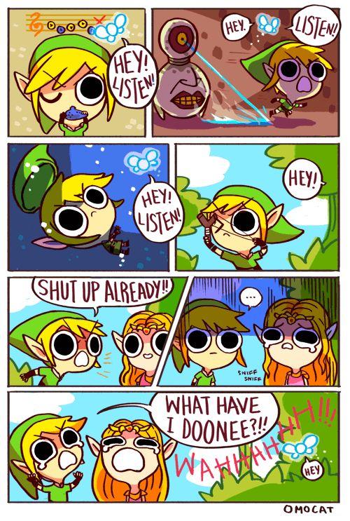 Navi the fairy, Link, and Princess Zelda - The Legend of Zelda: Ocarina of Time; funny comic by Omocat