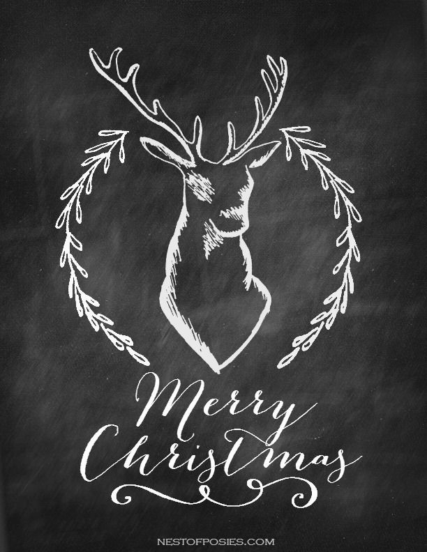 Merry Christmas Deer with Antler Chalkboard Printable