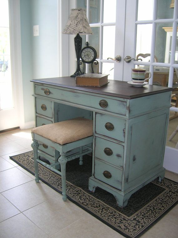 Vintage Desk or Vanity with Antique Bench by LeonasFrontPorch Love the color and rustic look! #office #desks