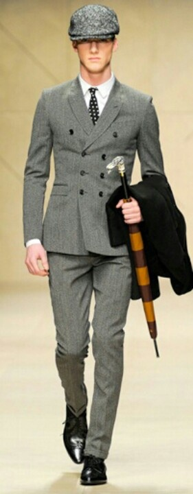 By Burberry #suit #tie #umbrella #doublebreasted