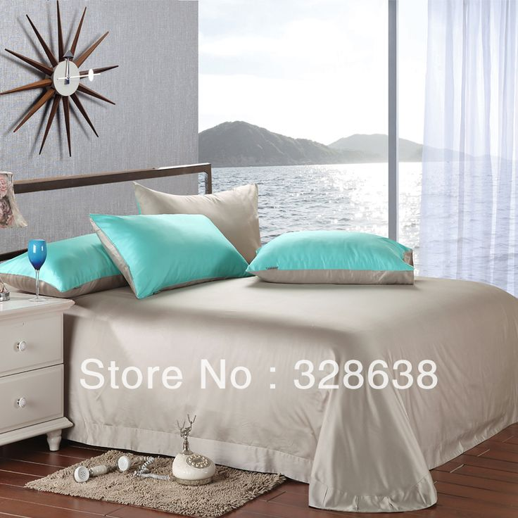Double faced tencel bedroom sets turquoise+silver gray smooth comforter shell +bedspread+pillowcase Full/King/Queen Size