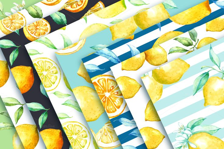 Watercolor lemon set. by Olga Ponomarchuk on @creativemarket