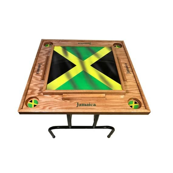 Jamaica Flag W Domino Table Etsy In 2020 Domino Table Red Oak Wood Jamaica Flag