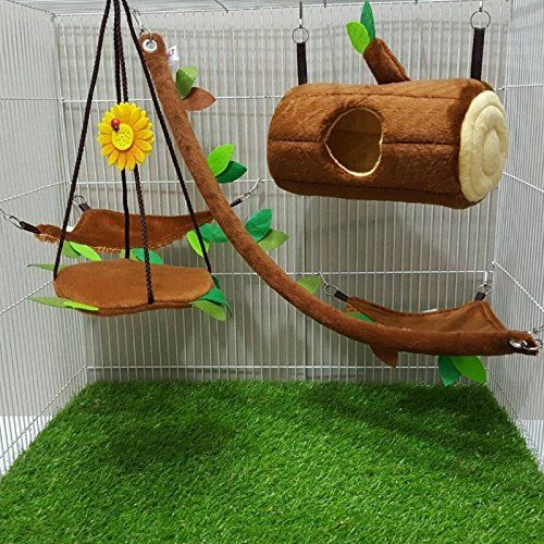 Hot Sale! 5 Pcs Sugar Glider Hamster Squirrel Chinchillas Small Pet Light Brown Log Cage Set Forest Pattern, Polar Bear's Republic