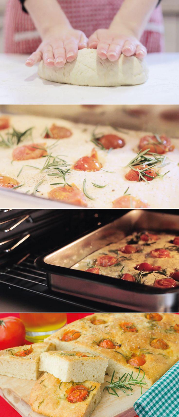 #receta Focaccia con Tomates Cherry y Romero – Pan Italiano