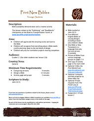 11. Print New Bibles - Bible availability demonstration and a creative activity for younger children. There is also a version for older kids. - See more at: http://www.wycliffe.ca/wycliffe/resources/educational_resource.jsp?rid=40#sthash.yMu2Eud1.dpuf