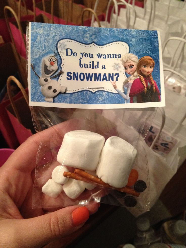 Frozen Party - 'Do you want to build a snowman?' kit - two sizes of marshmallows, pretzel sticks, chocolate chips, orange jelly bean!