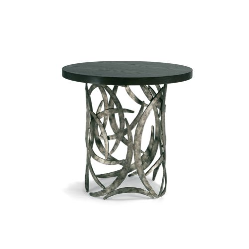 Porta Romana Crt03 Miro Drum Table Burnt Silver With Dark Fumed Oak Top Oxford Inspired