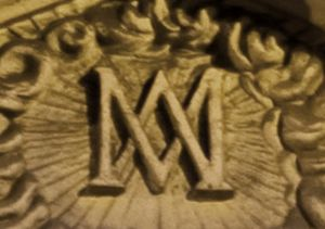 """3d Auspice Maria (a monogram of the Virgin Mary. Auspice Maria is Latin for """"Under the protection of Mary"""")"""