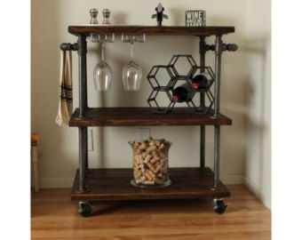 Industrial Kitchen Cart Bar Cart Serving by MaverickIndustrial