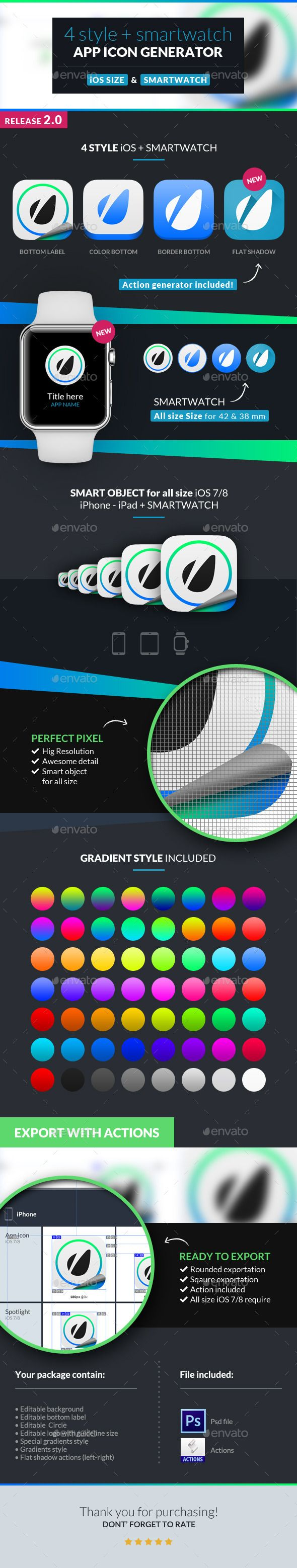 App Icon Generator 4 Style + Smartwatch — Photoshop PSD #icons #mobile • Available here → https://graphicriver.net/item/app-icon-generator-4-style-smartwatch/10468852?ref=pxcr