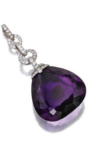 AMETHYST AND DIAMOND JEWELRY, MARZO, PARIS, CIRCA 1930 The pendant set with a large pear-shaped amethyst, signed Marzo, Paris, assay marks.