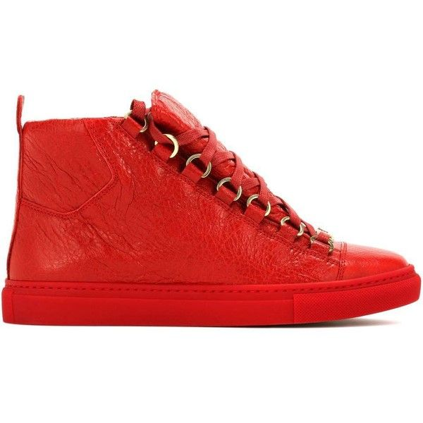 Balenciaga Arena High-Top Leather Sneakers ($550) ❤ liked on Polyvore featuring shoes, sneakers, red sneakers, leather shoes, leather sneakers, red shoes and balenciaga high top