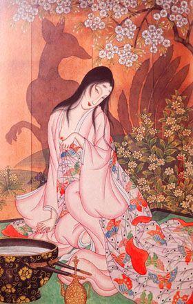 「玉藻前」昭和8年(1933) 背後に映る「九尾の狐」は美しい女に化けて人間界で邪悪な所業をするという有名な伝説。 小夢はことさら玉藻前にこだわり、何枚も描いたという。 爛漫の花の下、美貌はいっそう輝き蠱惑のまなざしを向けている