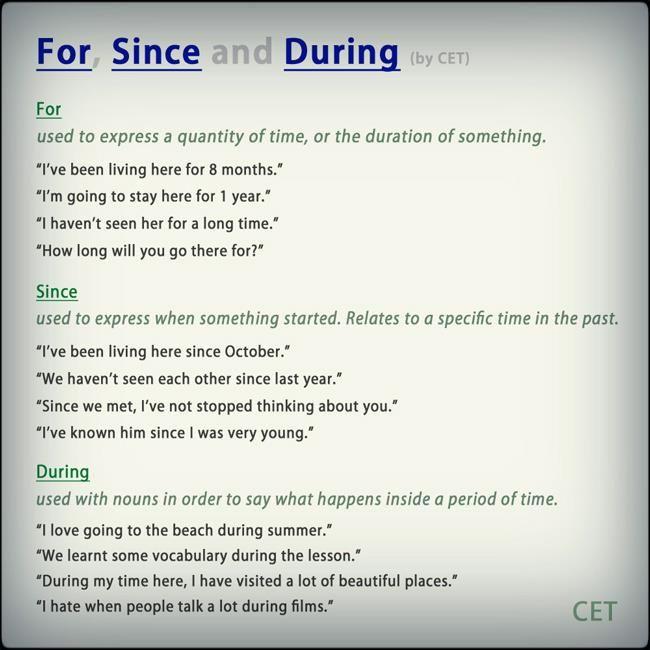 For, Since, During Usage #grammar #ELT