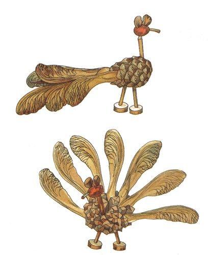 vögel und anderes federvieh aus kastanienen, bucheckern und mehr,