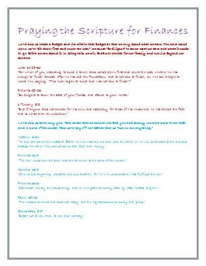 Praying the Scripture for Finances FREE pdf