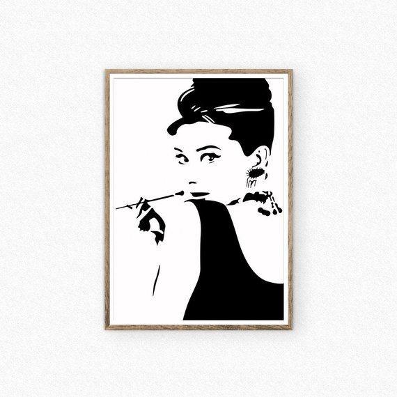 Audrey Hepburn Print Tiffany Poster Audrey Hepburn Silhouette Audrey Hepburn Wall Art Fashio Audrey Hepburn Wall Art Audrey Hepburn Print Floral Wall Art
