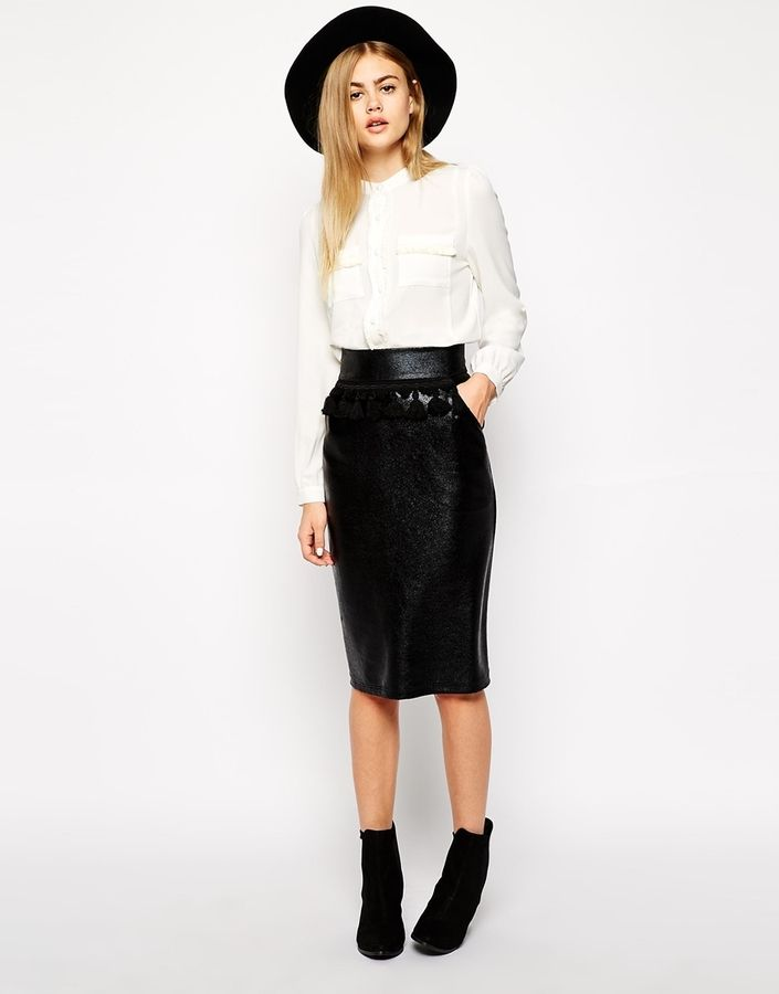 Sister Jane Cracked Faux Leather Pencil Skirt With Fringe Detail