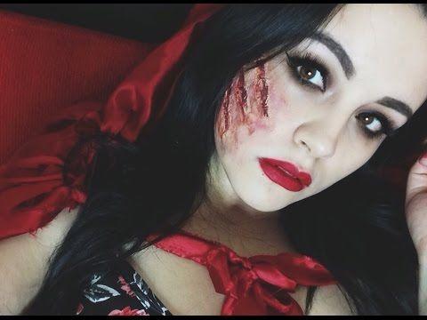 Maquillaje Halloween / Caperucita Roja Herida / Andrea Zenil - YouTube