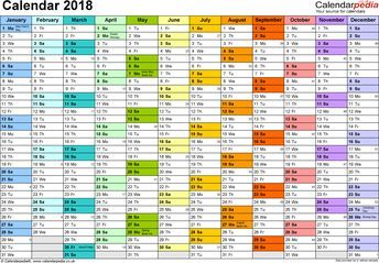 Template 1: Yearly calendar 2018 as PDF template, landscape orientation, A4, 1 page, months horizontally, days vertically, in colour, with UK bank holidays and week numbers