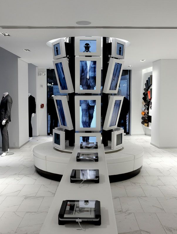 My.Suit's digital mannequin is a full-sized, human-scale series of display panels feat. 4 video monitors