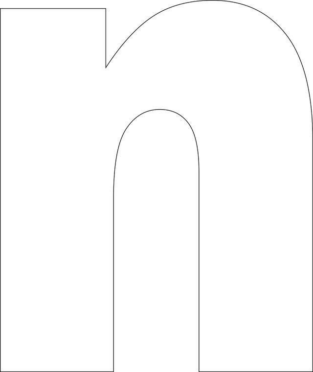 Free Printable Lower Case Alphabet Template: 'n' - Free Printable Lower Case…