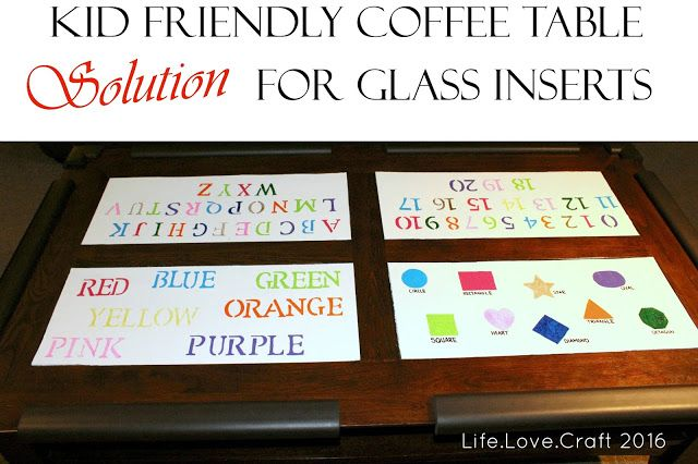 Solution to glass inserts in your coffee table when you have kids!
