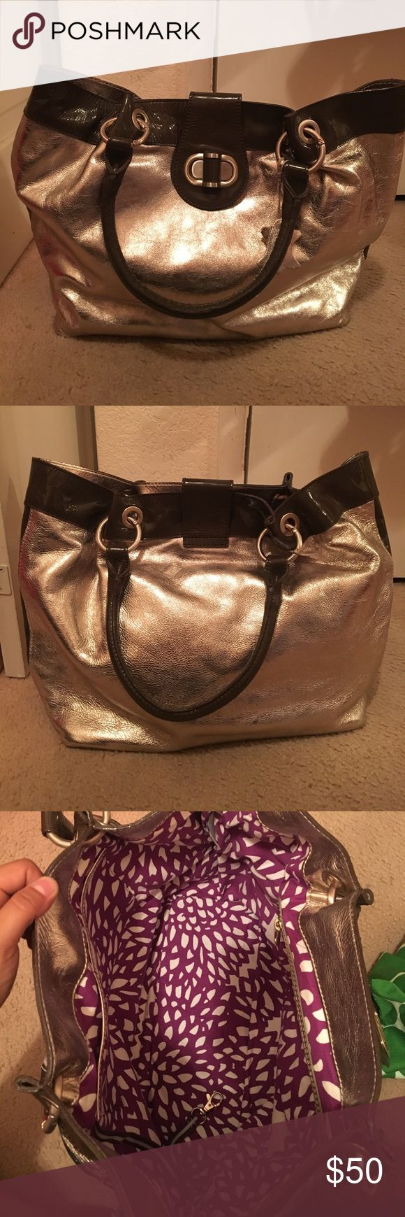 Boden Metallic bag(comes with Garment Bag) Metallic bag with brown leather Boden Bags Shoulder Bags
