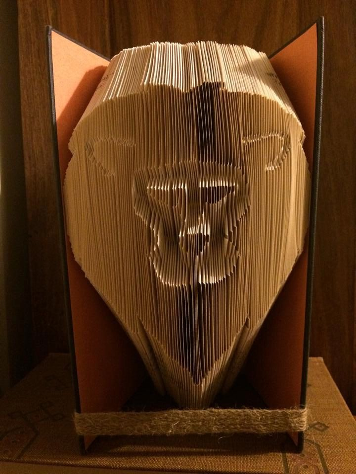 Book folding pattern for a Lion ~ Frontal view ~ +Free tutorial by BookFoldingForever on Etsy