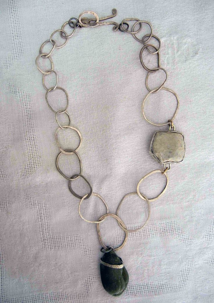 necklace - sterling silver / stones from angola  by marina louw