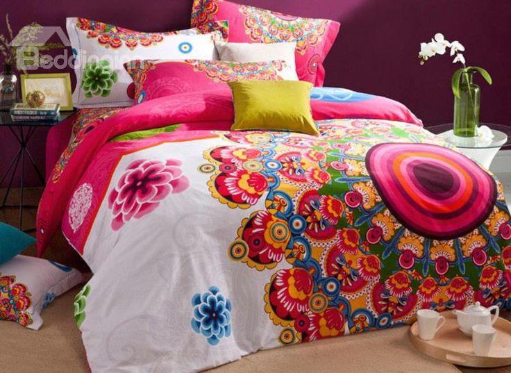 Unique Design Flower Embroidered Cotton Duvet Cover Sets