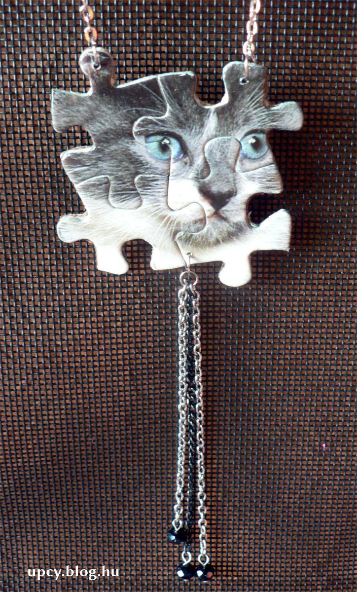 Jigsaw puzzle cat pendant, necklace. Teljesen egyedi macska nyaklánc.